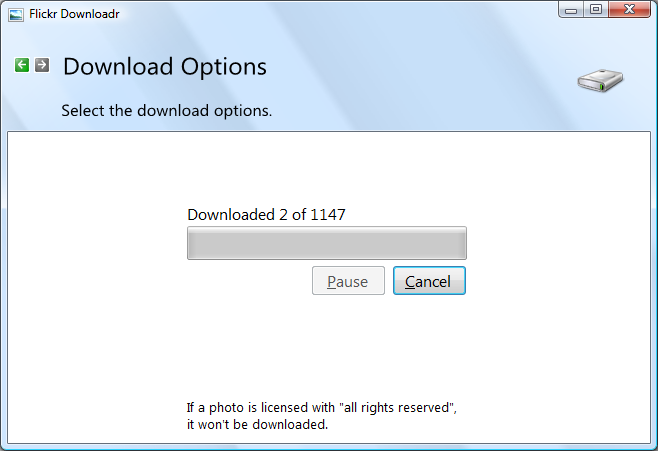 FlickrDownloadrDownloading