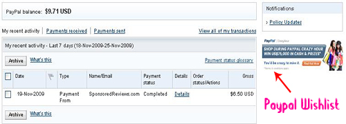 Paypal wishlist in paypal