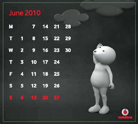 June Download Vodafone ZooZoo 2010 Calendar