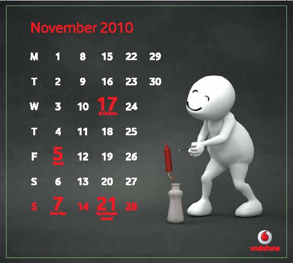 Nov Download Vodafone ZooZoo 2010 Calendar