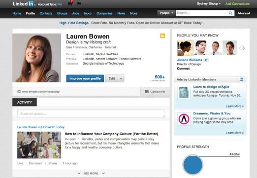 New LinkedIn Profile Page