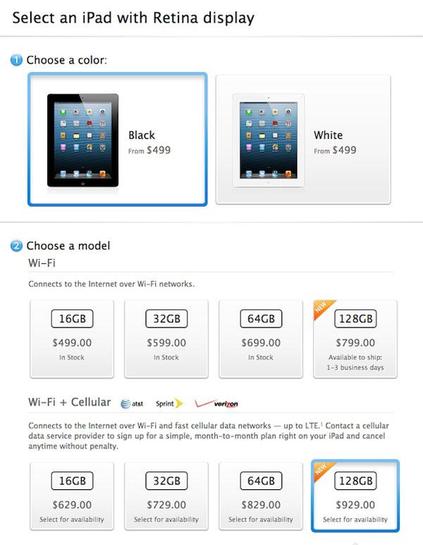 128gb ipad available