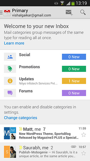 Gmail-android-tabbed