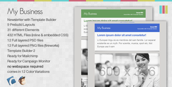 My Business – Email Newsletter with Template Builder