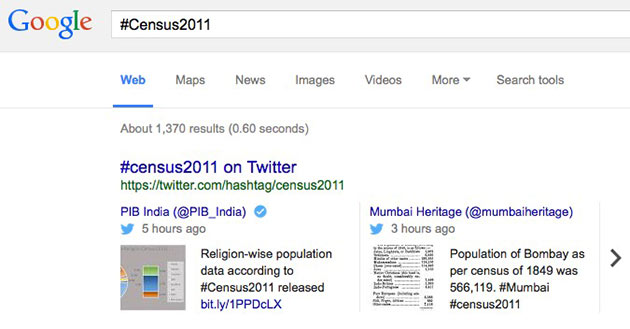 Hashtags-in-google