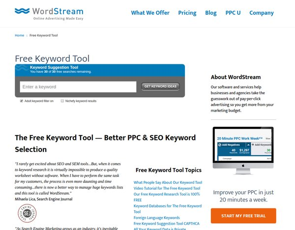 wordstream Keyword Rankings