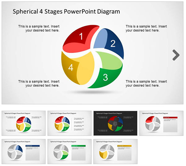 Spherical-4-Stages-PowerPoint-Diagram