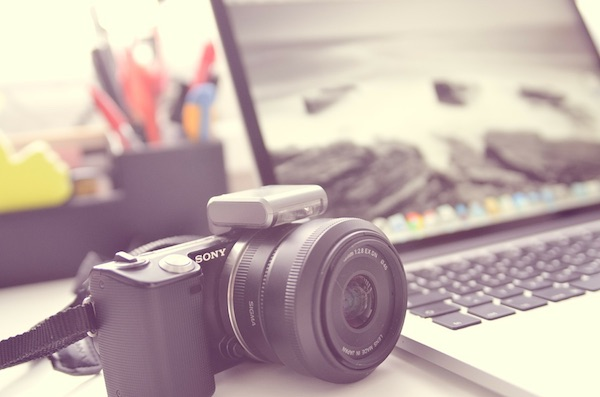 Camera with laptop